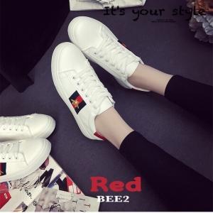 พร้อมส่ง รองเท้าผ้าใบแฟชั่นสีแดง แถบสีแดง สไตล์ Gucci แฟชั่นเกาหลี [สีแดง ]