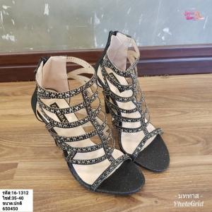 พร้อมส่ง รองเท้าส้นสูง สไตล์เกาหลี 16-1312-BLK [สีดำ]
