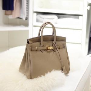 กระเป๋าถือ กระเป๋าคลัทช์ หนังพียู Birkin PU [สีน้ำตาล ]