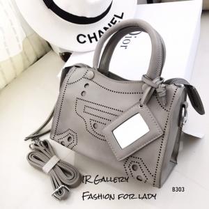 กระเป๋าถือ กระเป๋าสะพายข้างผู้หญิง หนังนิ่ม Style Balenciaga [สีเทา ]