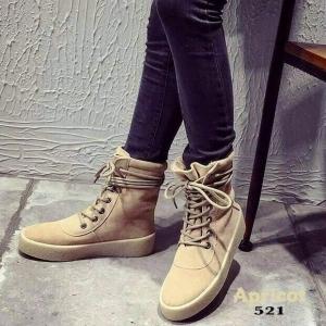 พร้อมส่ง รองเท้าผ้าใบหุ้มข้อสีแอปริคอท ผ้าสักหราด แฟชั่นเกาหลี แฟชั่นเกาหลี [สีแอปริคอท ]