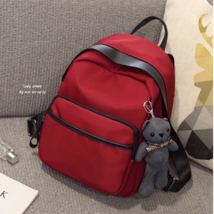 กระเป๋าเป้ผู้หญิง กระเป๋าสะพายข้างแฟชั่น Moschino แถมพวงกุญแจหมี [สีแดง ]