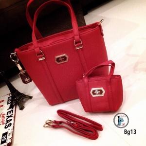กระเป๋าสะพายแฟชั่น กระเปาสะพายข้างผู้หญิง หนังนิ่ม Style LYN งานTop Mirror [สีแดง ]
