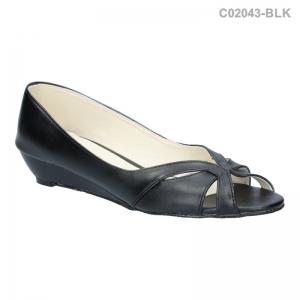 พร้อมส่ง รองเท้าส้นเตี้ย C02043-BLK [สีดำ]