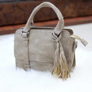 กระเป๋าถือ กระเป๋าสะพายข้างผู้หญิง งานหนังพียู แต่งภู่ [สีน้ำตาล ]