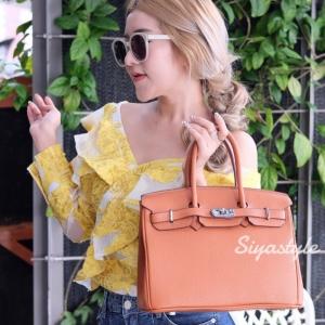 กระเป๋าสะพายแฟชั่น กระเป๋าสะพายข้างผู้หญิง Birkin PU 30 cm [สีส้ม]
