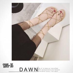 รองเท้าแตะพันข้อ แบบคีบ สไตล์เกาหลี [สีน้ำตาล ]