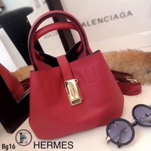 กระเป๋าถือผู้หญิง กระเป๋าสะพายข้างผู้หญิง หนังนิ่มคุณภาพ Style Hermes งานTop Mirror [สีแดง ]