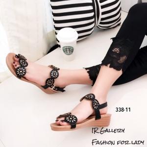 พร้อมส่ง รองเท้าแตะผู้หญิงสีดำ รัดส้น ผ้าซาติน ส้นยางพารา แฟชั่นเกาหลี [สีดำ ]