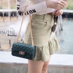 กระเป๋าสะพายแฟชั่น กระเป๋าสะพายข้างผู้หญิง งานสิลิโคนนิ่ม สายโซ่ทอง New-Mini-Toy [สีเขียว ]
