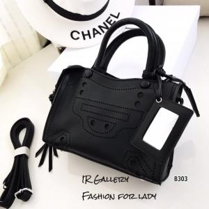 กระเป๋าถือ กระเป๋าสะพายข้างผู้หญิง หนังนิ่ม Style Balenciaga [สีดำ ]