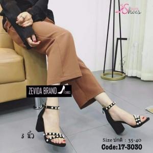 พร้อมส่ง รองเท้าส้นตันรัดข้อสีดำ ซิปหลัง สายคาดประดับมุก แฟชั่นเกาหลี [สีดำ ]