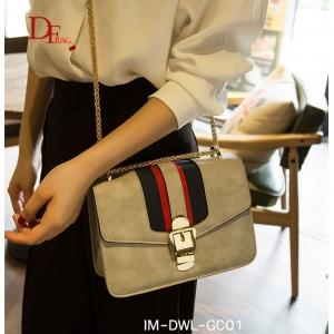 กระเป๋าสะพายแฟชั่น กระเป๋าสะพายข้างผู้หญิง แถบ3tone Style GUCCI [สีเทา ]