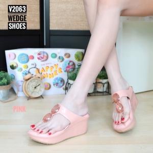 พร้อมส่ง รองเท้าเพื่อสุขภาพ พียูหนีบส้นโฟม V2063-PNK [สีชมพู]