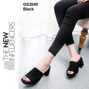 รองเท้าส้นตันเปิดส้น แบบสวม [สีดำ ]