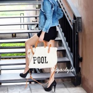 กระเป๋าสะพายแฟชั่น กระเป๋าสะพายข้างผู้หญิง กระเป๋าผ้า Pool [สีครีม]
