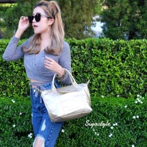กระเป๋าสะพายแฟชั่น กระเป๋าสะพายข้างผู้หญิง ลองชอมหนัง Style [สีทอง]