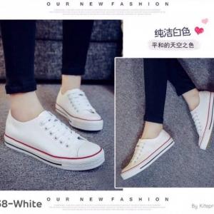 พร้อมส่ง รองเท้าผ้าใบสไตล์คอนเวิร์ส 1738G1-WHI [สีขาว]