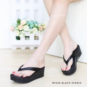 พร้อมส่ง รองเท้าเพื่อสุขภาพ หนีบส้นโฟม M1536-BLK [สีดำ]