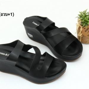 พร้อมส่ง รองเท้าส้นเตารีดแบบสวม 40075-BLK [สีดำ]