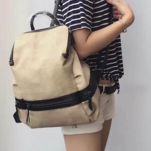 กระเป๋าเป้ผู้หญิง กระเป๋าสะพายหลังแฟชั่น BigBag ใส่ของได้เยอะ [สีครีม ]