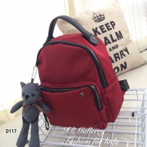 กระเป๋าเป้ผู้หญิง กระเปาสะพายหลังแฟชั่น วัสดุผ้าร่มเกรดพรีเมี่ยม หูจับเป็นหนัง [สีแดง ]