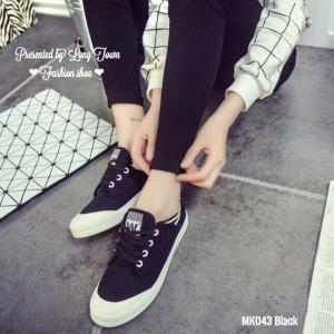 พร้อมส่ง รองเท้าผ้าใบผู้หญิง MK043-BLK [สีดำ]