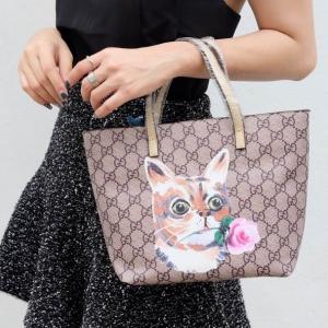 กระเป๋าสะพายแฟชั่น กระเป๋าสะพายข้างผู้หญิง กุชชี่ TOTE [สีครีม]