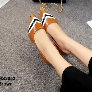 รองเท้าคัทชูหัวแหลม ส้นเข็ม สไตล์สาวออฟฟิศ [สีน้ำตาล ]