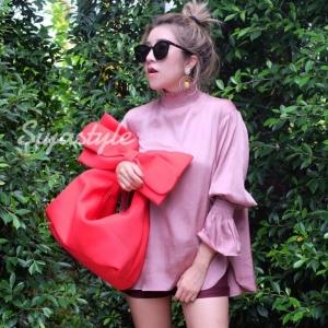 กระเป๋าครัช กระเป๋าถือ Big Bow [สีแดง]