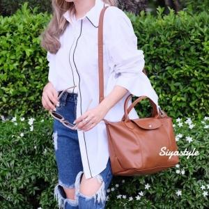 กระเป๋าสะพายแฟชั่น กระเป๋าสะพายข้างผู้หญิง ลองชอมหนัง Style [สีน้ำตาล ]