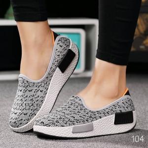 พร้อมส่ง รองเท้าผ้าใบเสริมส้นสีเทา ผ้าทอ พื้นสุขภาพ แฟชั่นเกาหลี [สีเทา ]