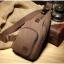 พร้อมส่ง กระเป๋าคาดอกผู้ชายผ้าแคนวาส-BAG-020 [สีน้ำตาล] thumbnail 3