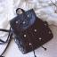 พร้อมส่ง กระเป๋าเป้หนังดอกไม้-Bag-027 [สีดำ]