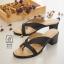 พร้อมส่ง รองเท้าส้นตันสีดำ แบบคีบ เก็บเท้า match ง่ายกับทุกชุด แฟชั่นเกาหลี [สีดำ ] thumbnail 2