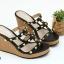 พร้อมส่ง รองเท้าส้นเตารีดแบบสวมสวยเท่ 13-57-BLK [สีดำ] thumbnail 1