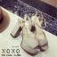 พร้อมส่ง รองเท้าส้นตันรัดส้นสีแอปริคอท ผ้าสักหราด แมทส์กับชุดได้ง่าย แฟชั่นเกาหลี [สีแอปริคอท ] thumbnail 2