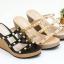 พร้อมส่ง รองเท้าส้นเตารีดแบบสวมสวยเท่ 13-57-BLK [สีดำ] thumbnail 3