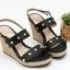 พร้อมส่ง รองเท้าส้นเตารีดรัดท้าย 13-61-BLK [สีดำ] thumbnail 1