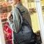 พร้อมส่ง กระเป๋าเป้หนังปักหมุด-BAG-026 [สีดำ] thumbnail 4