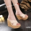 พร้อมส่ง รองเท้าส้นเตารีด สไตล์เกาหลี 17-2288-CRM [สีครีม] thumbnail 2