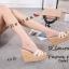 พร้อมส่ง รองเท้าส้นเตารีด สไตล์แบรนด์ดัง 17-2285-ครีม [สีครีม] thumbnail 4