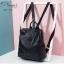 พร้อมส่ง กระเป๋าเป้ผู้หญิงหนัง pu นิ่ม - BAG-032 [สีดำ] thumbnail 3