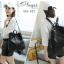 พร้อมส่ง กระเป๋าเป้ผู้หญิงหนัง pu นิ่ม - BAG-032 [สีดำ] thumbnail 2