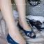 พร้อมส่ง รองเท้าส้นเตี้ย C02-042A-BLU [สีน้ำเงิน]