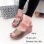 รองเท้าส้นเตารีด หนังเงา รัดข้อ 7797-4-ตาล (สีน้ำตาล) thumbnail 3