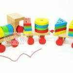 ของเล่นเสริมพัฒนาการ ของเล่นไม้ รถไฟไม้ลากจูงสวมหลักรูปทรงเรขาคณิต (ขนาดกลาง)