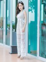 JS0032 จั๊มสูทเกาหลี จั๊มสูทแฟชั่น จั๊มสูทลูกไม้ เสื้อลูกไม้ ชุดไปเที่ยว ชุดออกงาน ชุดลูกไม้ ชุดไปงานแต่ง (สีขาว)