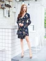 JS0034 เสื้อผ้าแฟชั่น เสื้อผ้าเกาหลี เสื้อผ้าแฟชั่นเกาหลี ชุดจั๊มสูท จั๊มสูทขาสั้น จั๊มสูทกางเกง จั๊มสูทลายดอก ชุดออกงาน ชุดทำงาน (สีกรม)
