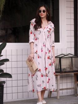 MD0030 เสื้อผ้าแฟชั่นเกาหลี เดรสเกาหลี เดรสยาว เดรสแฟชั่น แม็กซี่เดรส Maxidress ลายดอก Maxi Dress